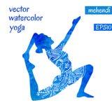 Голубой женский силуэт в представлении йоги Стоковое Изображение RF