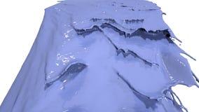 Голубой жидкостный лить на белизне в замедленном движении пестрая краска Стоковые Изображения RF