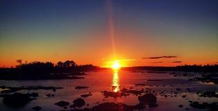 Голубой заход солнца горы Стоковые Изображения