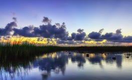 Голубой заход солнца заболоченного рукава реки Стоковое Фото