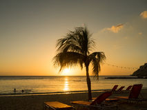 Голубой заход солнца пляжа залива Стоковое Изображение RF