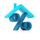 Голубой знак процентов под крышей () стоковые изображения rf