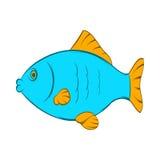 Голубой значок рыб, стиль шаржа Стоковые Изображения RF