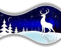 Голубой дизайн рождества с северным оленем Стоковая Фотография