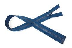 Голубой крупный план застежки -молнии изолированный на белой предпосылке Стоковые Фотографии RF
