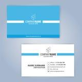 Голубой и белый современный шаблон визитной карточки Стоковые Изображения