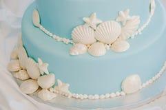 Голубой и белый торт Seashell Стоковое Изображение RF