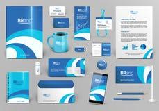 Голубой и белый фирменный стиль с волной Стоковое Изображение