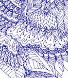 Голубой и белый шаблон Чертеж Doodle Нарисованная вручную картина Стоковая Фотография