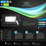 Голубой и зеленый темный дизайн шаблона вебсайта технологии Стоковые Фото