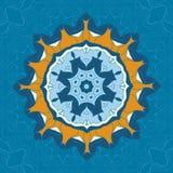 Голубой и коричневый орнамент мандалы над предпосылкой симметрии безшовной Декоративный круглый орнамент для крася анти--стресса иллюстрация вектора