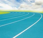 Голубой идущий след и белая разделенная линия Стоковое Изображение
