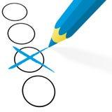 голубой карандаш с крестом Стоковое Изображение RF