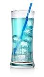 Голубой коктеил в большом стекле Стоковые Изображения