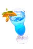 Голубой коктеил с льдом и апельсином Стоковые Фото