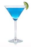 Голубой коктеиль Curacao в стекле стоковое фото