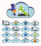 Голубой комплект облака компьютера Стоковая Фотография RF