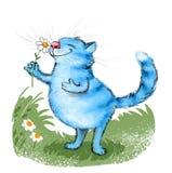 Голубой кот и цветок иллюстрация штока
