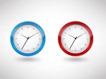 Голубой & красный вектор часов Иллюстрация вектора