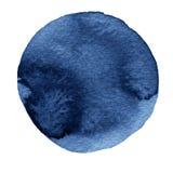 Голубой круг акварели Пятно Watercolour на белой предпосылке Стоковое Фото