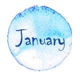 Голубой круг акварели с словом январем изолированный на белой предпосылке Стоковая Фотография