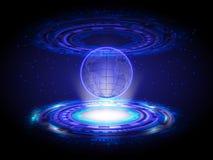 Голубой круг карты мира Hologram технологии, Bac Hologram абстрактный Стоковые Изображения RF