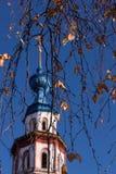 Голубой купол старой православной церков церков Стоковое фото RF