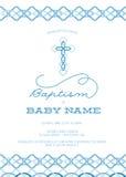 Голубой мальчик, крещение s/крестить/сперва общность/приглашение подтверждения с перекрестным дизайном - высокие разрешение или в Стоковая Фотография RF