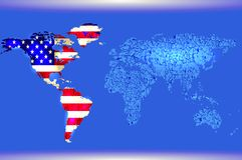 голубой мир карты Флаг абстрактной текстуры американский иллюстрация штока