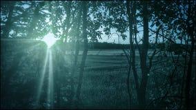 Голубой мистический заход солнца Стоковые Фотографии RF