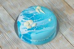 Голубой морской-стиль торта украсил крупный план Стоковое Фото