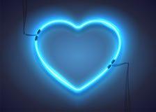 Голубой неон heart-01 Стоковая Фотография RF