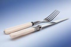голубой нож вилки Стоковые Фотографии RF