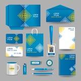 Голубой орнаментальный шаблон канцелярских принадлежностей дела иллюстрация штока