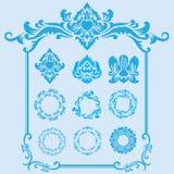 Голубой орнамент рамки Стоковые Фотографии RF