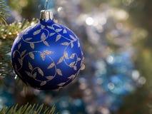 голубой орнамент рождества Стоковые Изображения