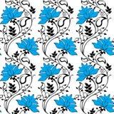 Голубой орнамент цветков Стоковое Фото