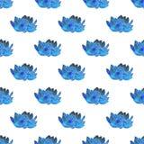 Голубой лотос Безшовная картина с космическим или галактикой Стоковые Изображения