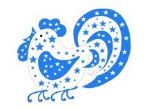 Голубой петух с звездами Стоковое Изображение