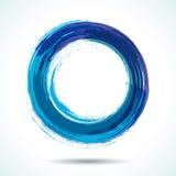 Голубой покрашенный щеткой круг акварели Стоковые Фото