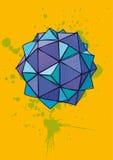 Голубой полиэдрон с насиживать нарисованный рукой на желтой предпосылке Стоковые Изображения