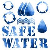 Голубой плакат eco, рециркулирует знаки и текст Стоковые Изображения RF