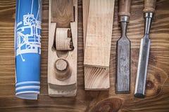 Голубой план строительства брея стержни плоских зубил деревянные дальше сватает Стоковые Изображения