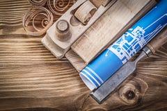Голубой план строительства брея стержни плоского плоского зубила деревянные sh Стоковое Фото
