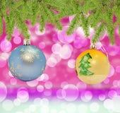 Голубой рождества декоративный и желтый шарик на предпосылке bokeh Стоковое Изображение RF