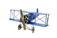 Голубой ручной работы самолет игрушки Стоковые Изображения