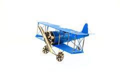 Голубой ручной работы самолет игрушки Стоковые Фотографии RF