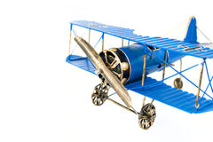 Голубой ручной работы самолет игрушки Стоковые Изображения RF