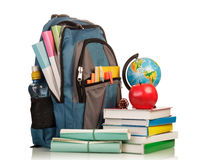 Голубой рюкзак школы стоковые фотографии rf