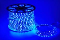 Голубой светлый пояс приведенный, прокладка приведенная, водоустойчивые прокладки света СИД сини Стоковая Фотография RF